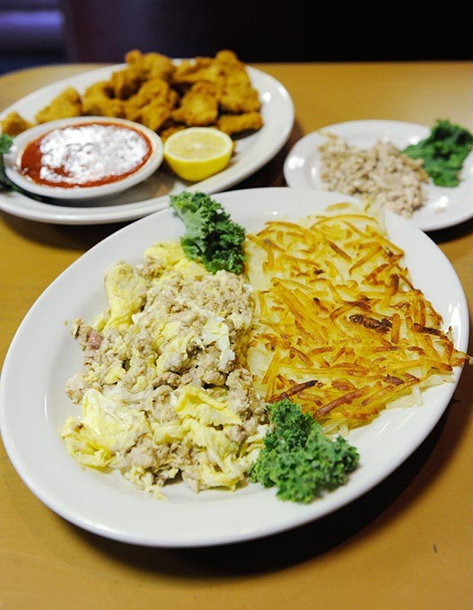 Calf brains and eggs, lamb fries, and a side of brains at Cattlemen's Steakhouse in Oklahoma City, Tuesday, Oct. 27, 2015. - GARETT FISBECK