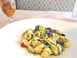 Orecchiette is served with salsa verde and seasonal vegetables, including Peruvian teardrop peppers. (Photo Jacob Threadgill)
