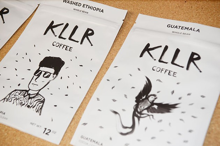 Local artist Koon Vega designed packaging for KLLR Coffee. (Photo Jacob Threadgill)