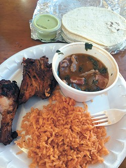 El Primo Loco's signature flame-grilled chicken with rice, beans and tortillas (Photo Jacob Threadgill)