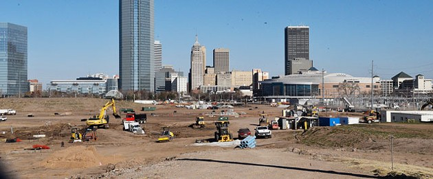 Construction crews and equipment sit on the future site of the 40-acre upper section of Scissortail Park, a MAPS 3 project, near downtown Oklahoma City. (Photo Laura Eastes)