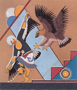 "Joe Hilario Herrera's ""Eagle Dancer"" exhibits modern influences in its depiction of traditional Pueblo imagery. 