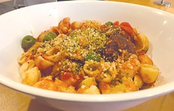 Saturn Grill's vegan meatballs are made from soy protein and wheat gluten. (Photo Jacob Threadgill)