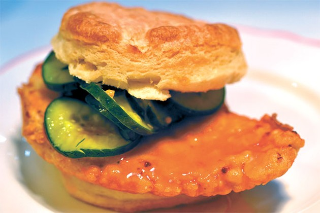 The Nashville sandwich is fried chicken covered in hot sauce and paired with honey mustard and bread-and-butter pickles. | Photo Aaron Snow / provided