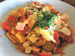 Italian sausage rigatoni with roasted red peppers and onions in a tomato-vodka sauce (Photo Jacob Threadgill)
