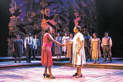 Carla Stewart (Shug Avery) sings with other members of The Color Purple cast during a production on the show's national tour.   Photo Matthew Murphy / provided