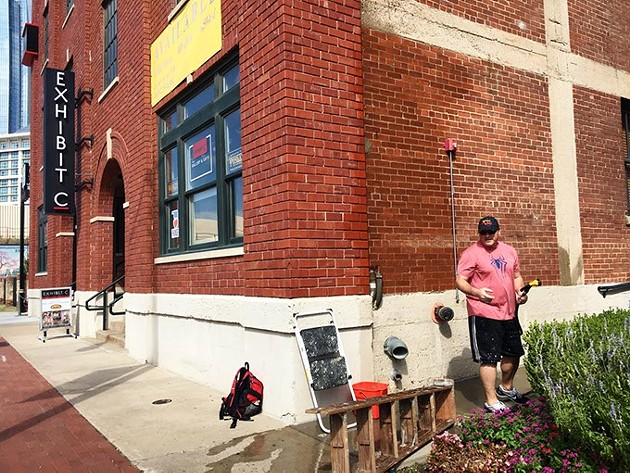 In September, artist Eric Tippeconnic began work on a new mural at Bricktown's Exhibit C art gallery. Tippeconnic will return to the state in November to complete his work. (Koch Communications / provided)