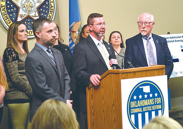 Ryan Kiesel, Kris Steele and Gene Rainbolt answer questions about ways to lower Oklahoma's prison population at the Capitol in March - LAURA EASTES