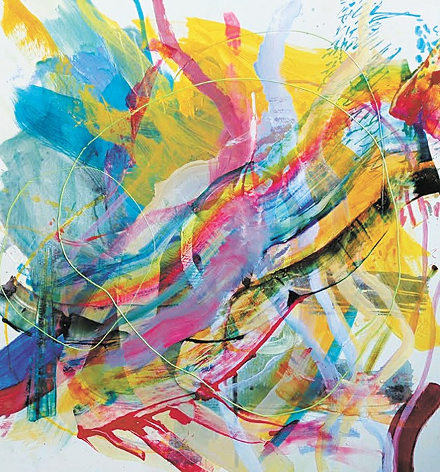 """""""100 mph"""" acrylic and pastel on panel by Virginia Sitzes from Art Group's debut group exhibition - PROVIDED"""
