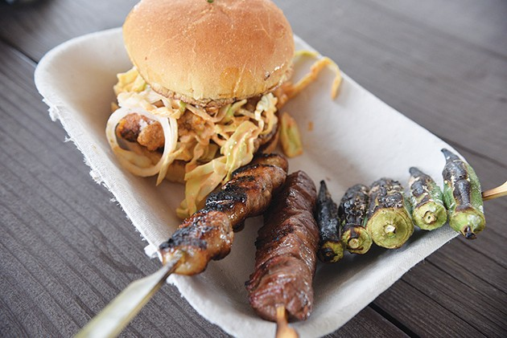 "Ok-Yaki karage ""slider"" with skewers of pork belly, flank steak and okra. - JACOB THREADGILL"