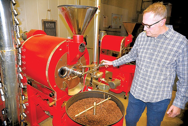 Todd Vinson roasts a fresh coffee blend, using a roaster from Oklahoma City's own U.S. Roaster Corp. - JACOB THREADGILL