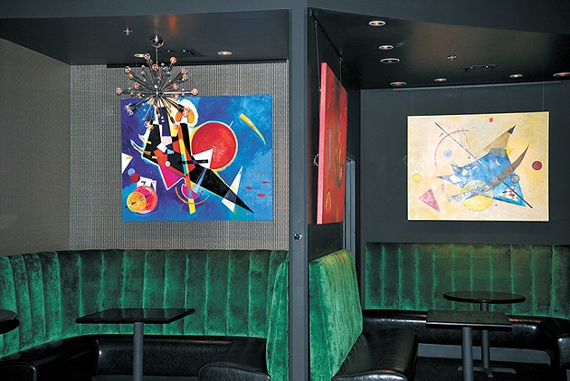 Local artist Brent Learned custom-made several abstract paintings for The Liszt Nightclub + Lounge. - BEN LUSCHEN