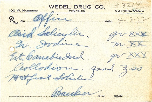 An example of an Oklahoma prescription for cannabis that predates the 1937 federal outlaw. Such prescriptions can only be found in private collections. - PROVIDED