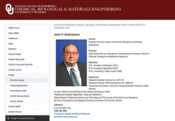A screenshot of John Scamehorn's profile on University of Oklahoma's website. The page was taken down the week of June 7. - OU.EDU