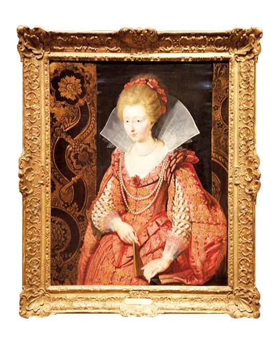 """Portrait of Charlotte-Marguerite de Montmorency, Princess of Condé, circa 1610"" by Peter Paul Rubens above with Isabelle de Borchgrave's dress interpretation. below - OKLAHOMA CITY MUSEUM OF ART  / PROVIDED AND PHOTO KARSON BROOKS"