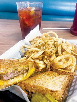 Fresh hamburger is the star of the patty melt, and - fresh french fries are topped with seasoning salt. - JACOB THREADGILL