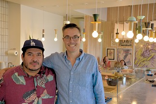 Commonplace co-owners Chris Castro and Ben Nockels inside the new kitchen. Castro is the head chef and menu planner. - JACOB THREADGILL