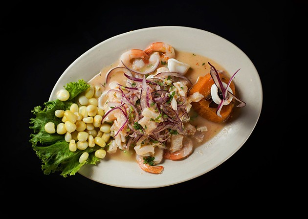 Peruvian ceviche mixto: a selection of fish, shrimp, mussels and calamari - PROVIDED