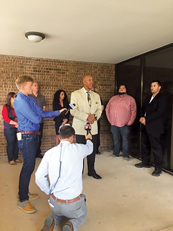 Oklahoma City NAACP president Garland Pruitt speaks at a press conference regarding accusations of misrepresentation and racism with the Del City Police department. - NAZARENE HARRIS