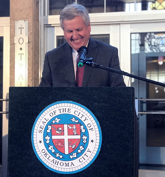Oklahoma City manager Jim Couch addressed a crowd at the reopening of Santa Fe Station in 2017. - PROVIDED