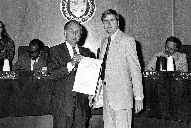 Former Oklahoma City mayor Ron Norick swore in Jim Couch as city manager in 2000. - PROVIDED