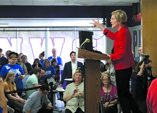 Oklahoma City-born Sen. Elizabeth Warren spoke at Northwest Classen High School Sept. 22. - NAZARENE HARRIS