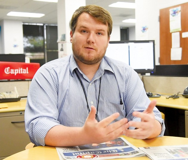 Chase Cook, a reporter at Annapolis' Capital Gazette, speaks at OU's Gaylord College of Journalism on Friday. - PROVIDED