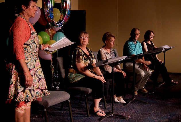 from left Doobie Potter, Rhonda Clark, Vicky Wilcox, Terry Veal and the late Laurel Van Horn Jawarsky in Fish or Chicken? in 2013. - CARPENTER SQUARE THEATRE / PROVIDED