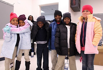 Parks Elementary School students strike a pose after receiving new gloves, beanies and winter coats through The Foundation for Oklahoma City Public Schools' Coat-A-Kid program. - PROVIDED