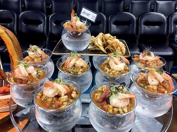 Shrimp ceviche at the Budweiser Brew House is a take on the classic shrimp cocktail with Latin flavors. - JACOB THREADGILL