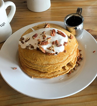 Home Sweet Homa, sweet potato pancakes with marshmallow topping and pecans. - JACOB THREADGILL