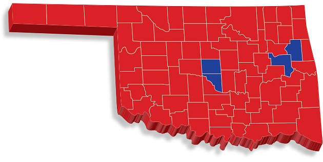 Oklahoma's election night results follow a national trend in which counties on the states' outskirts vote red and counties toward the center of the state vote blue. - OKLAHOMA STATE ELECTION BOARD / PROVIDED