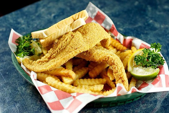 A lunch catfish plate with french fries and bread - PROVIDED