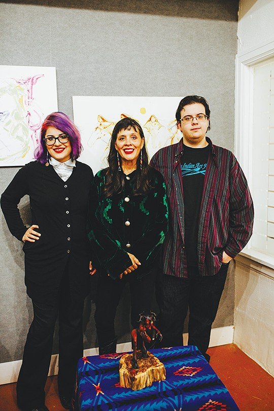 from left Hvresse Christie Tiger, Dana Tiger and Coleman Lisan Tiger Blair's art is on display at Gallery One at The Paseo through Jan. 2. - ALEXA ACE