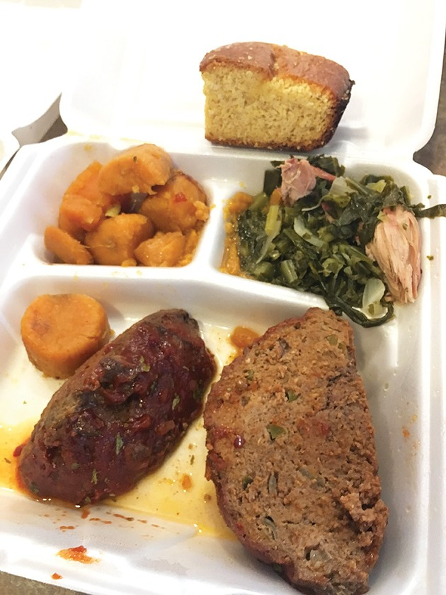 Meatloaf with greens, yams and cornbread - JACOB THREADGILL