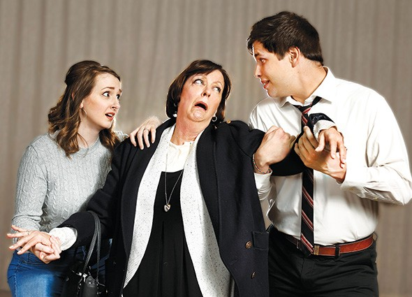 from left Korri Werner, Lilli Bassett and Paxton Kliewer appear in a scene from Barefoot in the Park. - JIM BECKEL / PROVIDED
