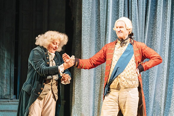 Mark Gatiss right stars in National Theatre Live's presentation of The Madness of King George III, screening 6 p.m. Sunday at OCCC's Visual and Performing Arts Center Theater. - NATIONAL THEATRE LIVE / PROVIDED