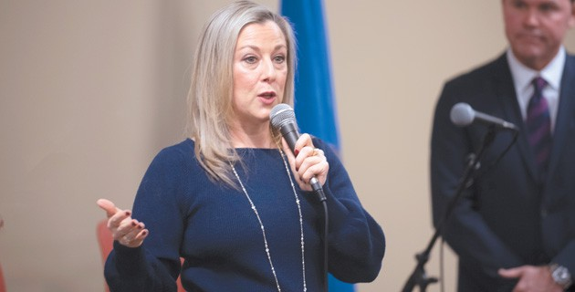 Congresswoman Kendra Horn answered questions in front of about 200 constituents at a town hall meeting last Saturday. - MIGUEL RIOS
