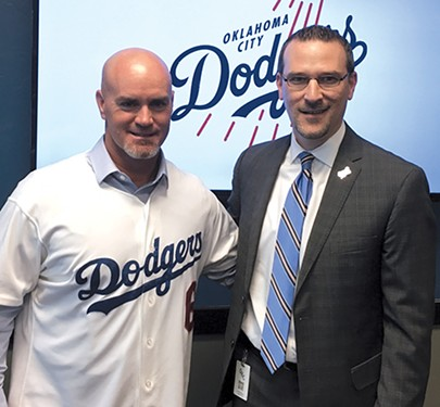 New Oklahoma City Dodgers manager Travis Barbary with team president Michael Byrnes at an introductory press conference Jan. 28 - JACOB THREADGILL