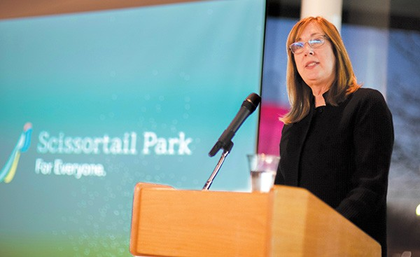 Maureen Heffernan, Scissortail Park Foundation director, gave an update on the progress of the park Jan. 31. - MIGUEL RIOS