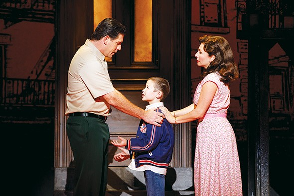 from left Richard H. Blake as Lorenzo, Frankie Leoni as Young C and Michelle Aravena as Rosina in A Bronx Tale March 5-10 at Civic Center Music Hall. - JOAN MARCUS / PROVIDED