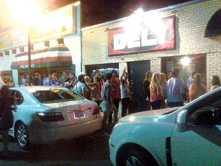 A crowd waits in line for a weekend show at The Deli. - PROVIDED