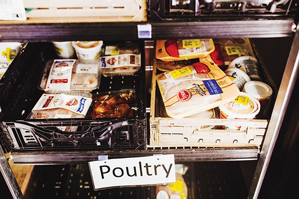 Moore Food & Resource Center partners with retail grocers to provide items like poultry, - fish and packaged salads. - ALEXA ACE