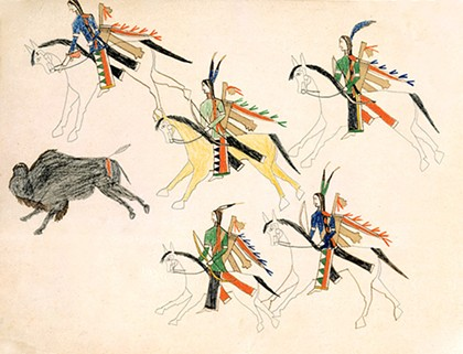 """""""Buffalo Hunt"""" by Bear's Heart - NATIONAL COWBOY & WESTERN HERITAGE MUSEUM / PROVIDED"""
