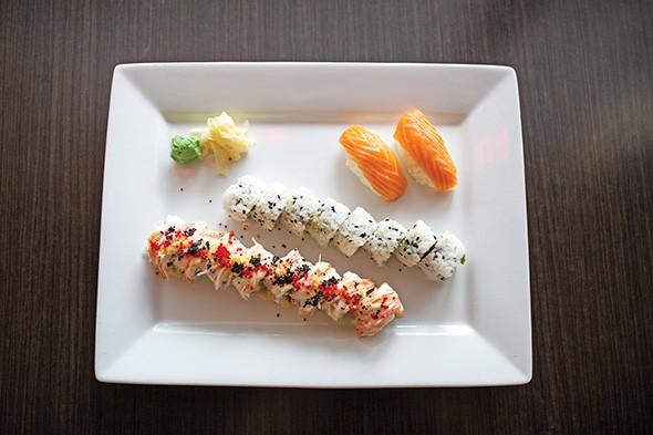 top to bottom salmon nigiri, California roll and Sexy Lady - ALEXA ACE