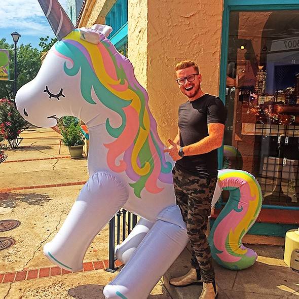 Kindt Steven Myers with Unicorn Brunch's inflatable unicorn mascot - PROVIDED