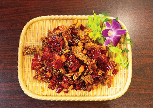 Dry spicy tasty beef at Chuanyu Fusion features plenty of the Sichuan peppercorn that creates a unique numbing sensation - ALEXA ACE