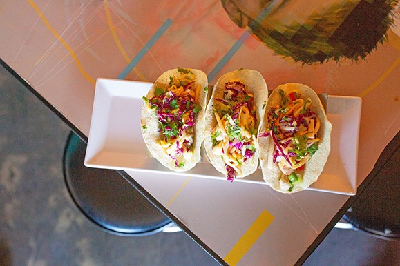 Completed cannabis-infused ceviche tacos topped with sweet slaw - ALEXA ACE
