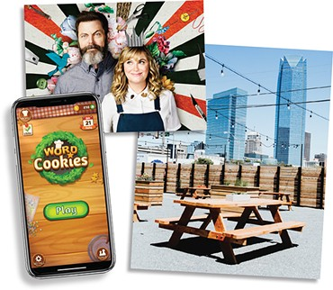 Making It (Photo NBC / provided) • Word Cookies! app (Photo BitMango / provided) • Angry Scotsman patio (Photo Alexa Ace)