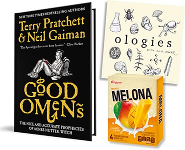 Good Omens (Image HarperCollins Publishers / Provided) • Ologies with Alie Ward (Image Ologies with Alie Ward / provided) • Melona Mango (Photo provided)